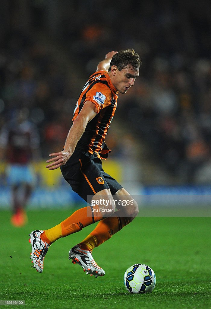 Hull player Nikica Jelavic in action during the Barclays Premier League match between Hull City and West Ham United at KC Stadium on September 15, 2014 in Hull, England.