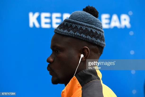 Hull player Oumar Niasse wearing a nice wool hat arrives at the stadium before the Premier League match between Hull City and Sunderland at KCOM...