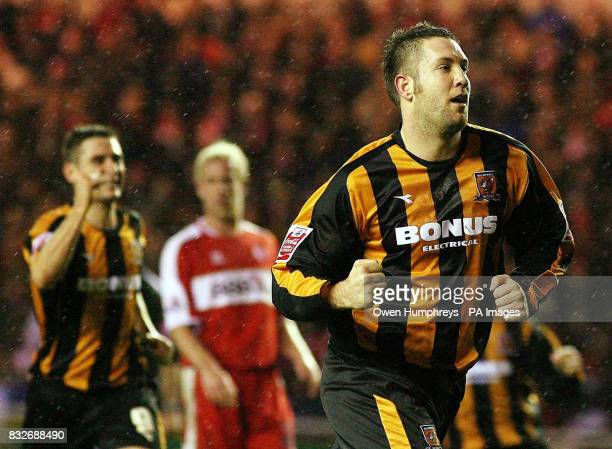 Hull's Jon Parkin celebrates after scoring their second goal during the FA Cup third round replay against Middlesbrough at The Riverside Stadium...