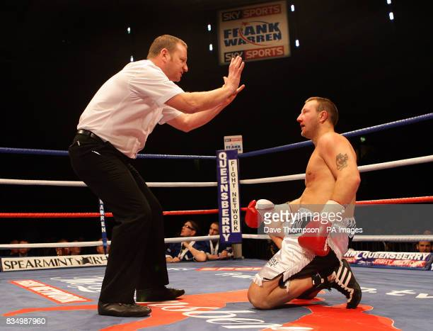 Hull's Phil Goodwin is given the count by the referee during his fight with Liverpool's Tony Bellew during the LightHeavyweight Contest at the...