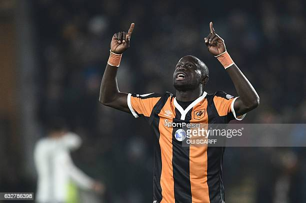 Hull's Senegalese forward Oumar Niasse celebrates after scoring during the EFL Cup semifinal secondleg football match between Hull City and...