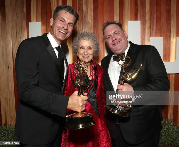 Hulu CEO Mike Hopkins Author Margaret Atwood winner of the award for Outstanding Drama Series for 'The Handmaid's Tale' and Writer Bruce Miller...