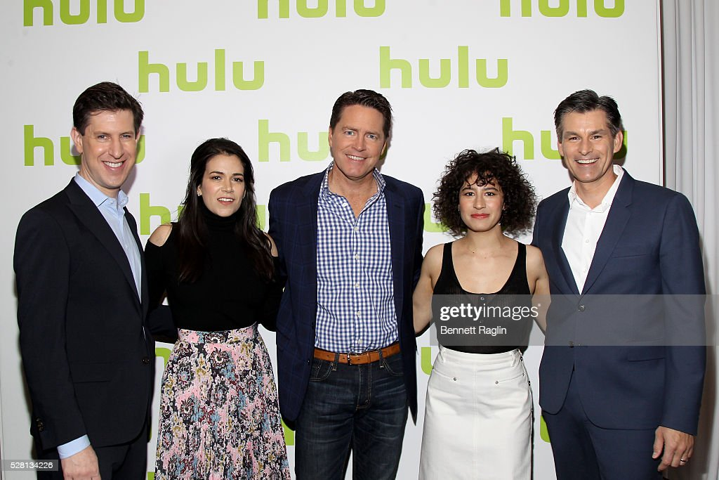 Hulu SVP Head of Content Craig Erwich, Abbi Jacobson of Broad City, Hulu SVP Sales Peter Naylor, Ilana Glazer of Broad City, and Hulu CEO Mike Hopkins attend the 2016 Hulu Upftont on May 04, 2016 in New York, New York.