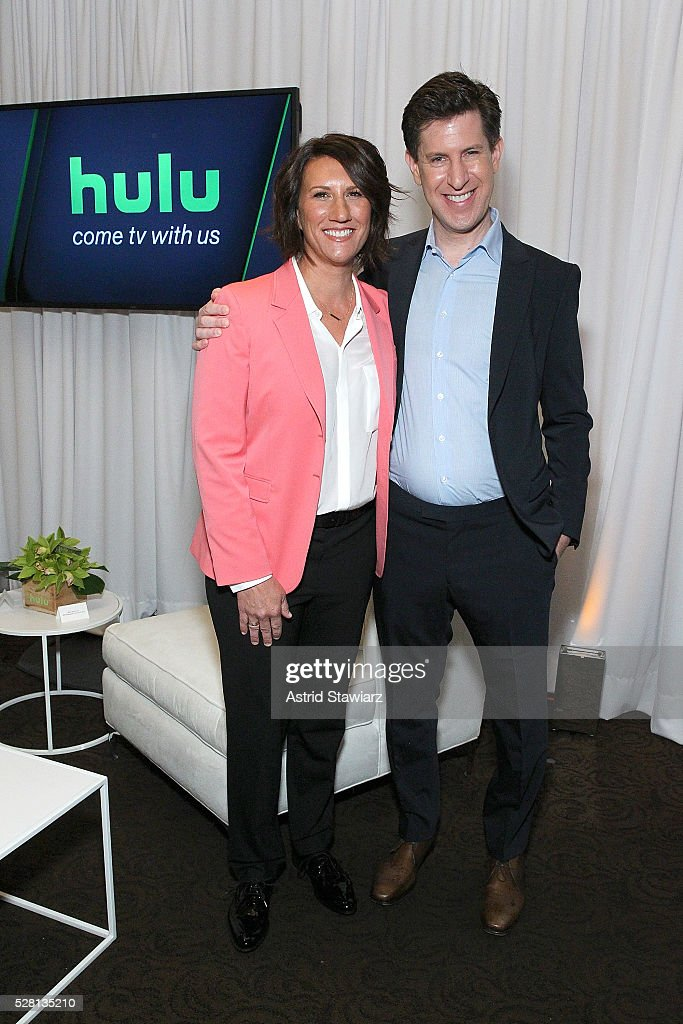 Hulu SVP, Head of Marketing Jenny Wall and Hulu SVP Head of Content Craig Erwich attend the 2016 Hulu Upftont - Green Room on May 04, 2016 in New York, New York.