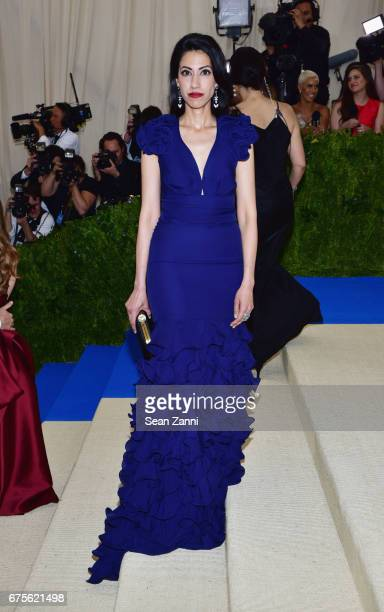 Huma Abedin arrives at 'Rei Kawakubo/Comme des Garcons Art Of The InBetween' Costume Institute Gala at The Metropolitan Museum on May 1 2017 in New...