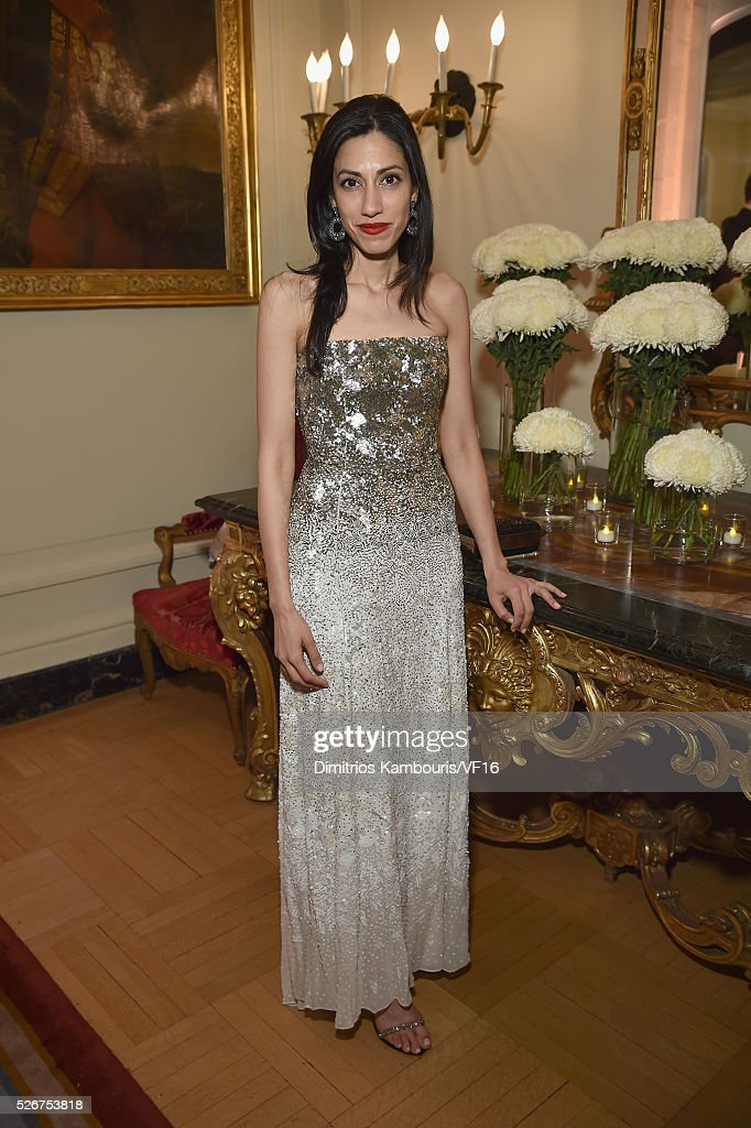 Huma Abedin attends the Bloomberg & Vanity Fair cocktail reception following the 2015 WHCA Dinner at the residence of the French Ambassador on April 30, 2016 in Washington, DC.