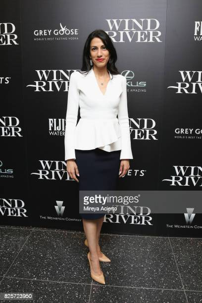 Huma Abedin attends The Weinstein Company with FIJI Grey Goose Lexus and NetJets screening of 'Wind River' at The Museum of Modern Art on August 2...