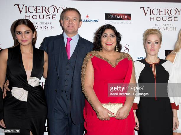 Huma Qureshi Hugh Bonneville Gurinder Chada and Gillian Anderson attending the Viceroy's House UK Premiere at the Curzon Mayfair Cinema London