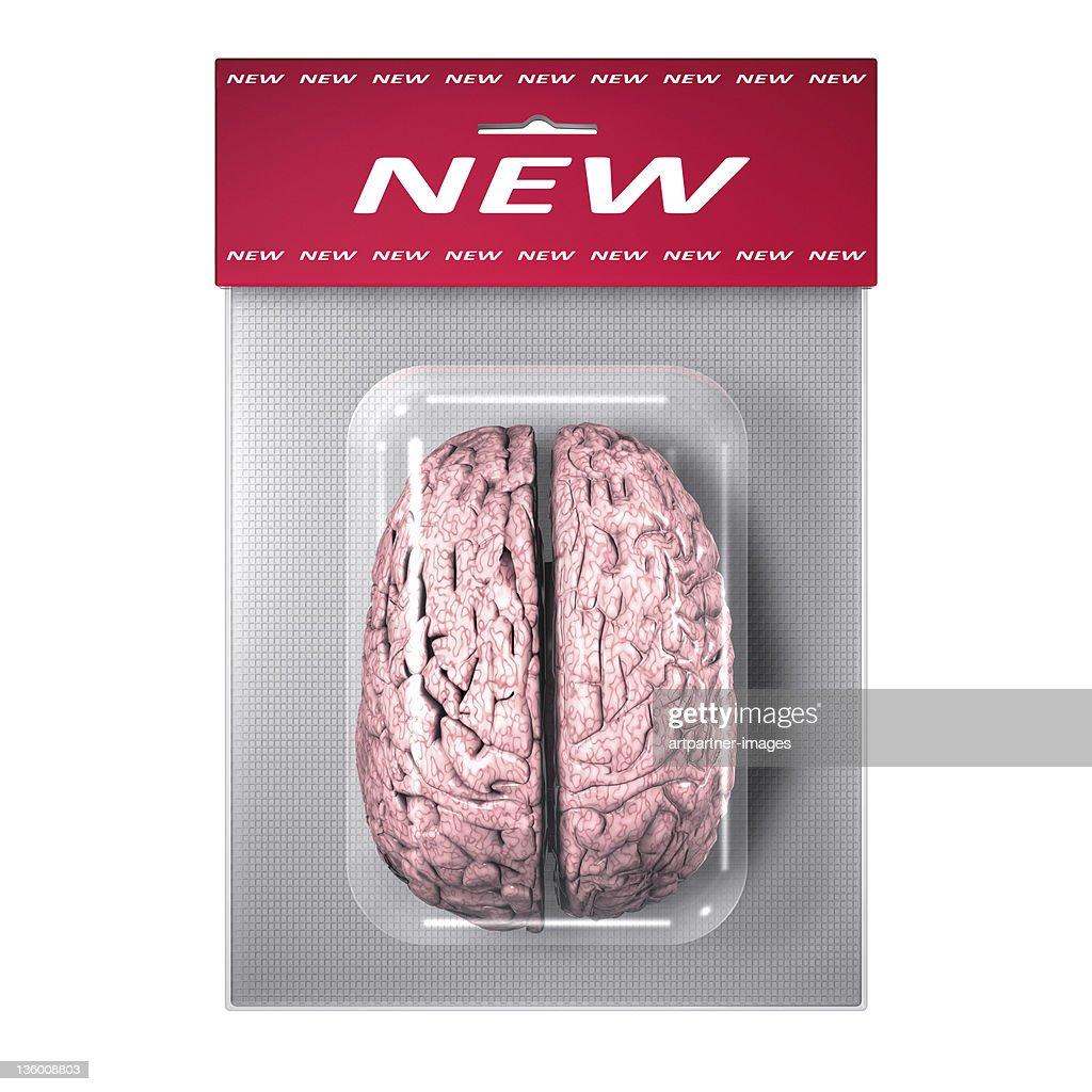 Human Brain in a Blister Pack on White