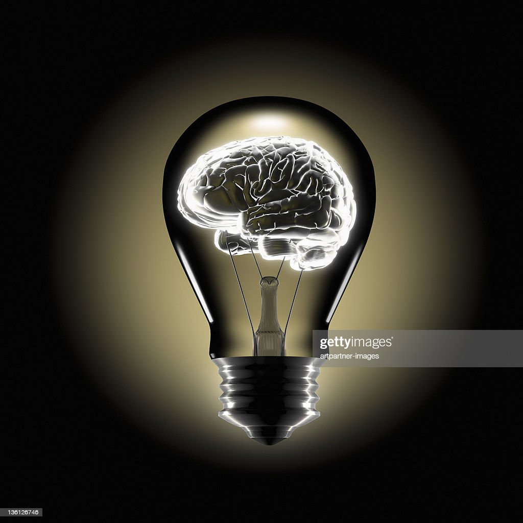 Human Brain in the Middle of a bulb : Stock Photo