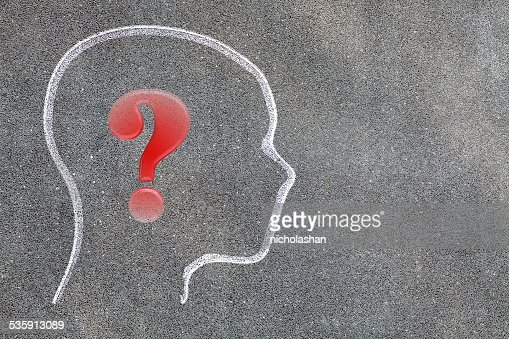 Human brain open with question mark : Stock Photo