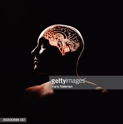 Human brain projected on man's head : Stock Photo