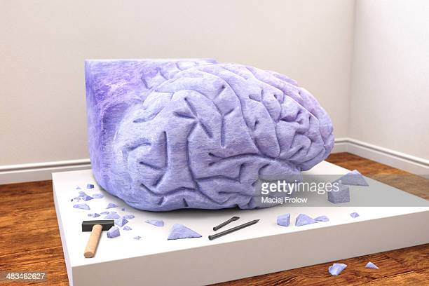 Human brain sculpted from stone