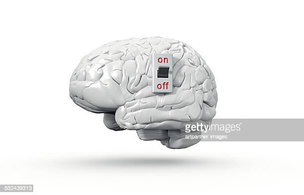 Human brain with On/Off switch in on position