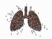 Human crowd forming a big lung symbol on white background. Horizontal  composition with copy space. Clipping path is included. Health concept.