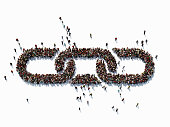 Human crowd forming a big chain symbol on white background. Horizontal  composition with copy space. Clipping path is included. Bonding and social Media concept.