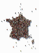 Human crowd forming a big France map on white background. Vertical composition with copy space. Clipping path is included. Population and Social Media concept.