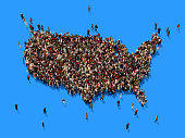 Human crowd forming a big USA map on blue background. Horizontal  composition with copy space. Clipping path is included. Population and Social Media concept.