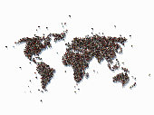 Human crowd forming a big world map on  white background. Horizontal  composition with copy space. Clipping path is included. Population and Social Media concept.