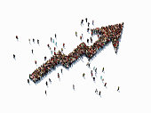 Human crowd forming an arrow shape on white background. Horizontal  composition with copy space. Clipping path is included. Finance concept.