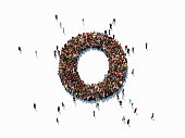 Human crowd forming a big number zero on white background. Horizontal  composition with copy space. Clipping path is included. Success concept.