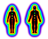 Illustration of human energy body with aura and chakras on white background
