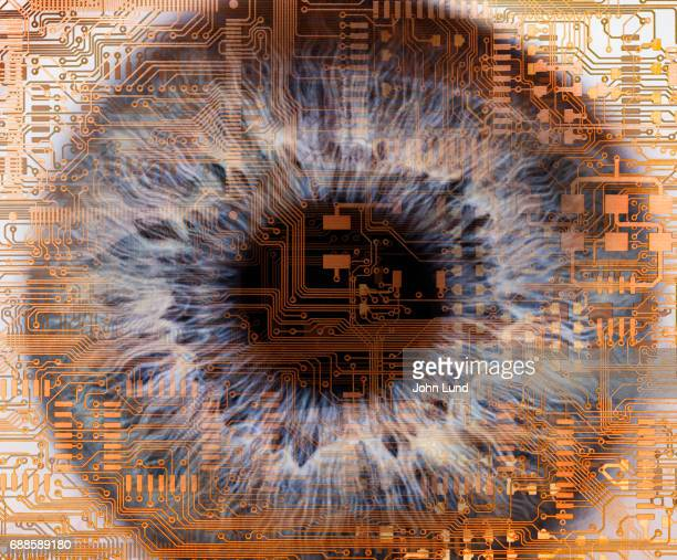 Human eye embedded in computer circuitry