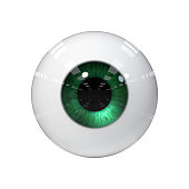 stylized green eye isolated on white background