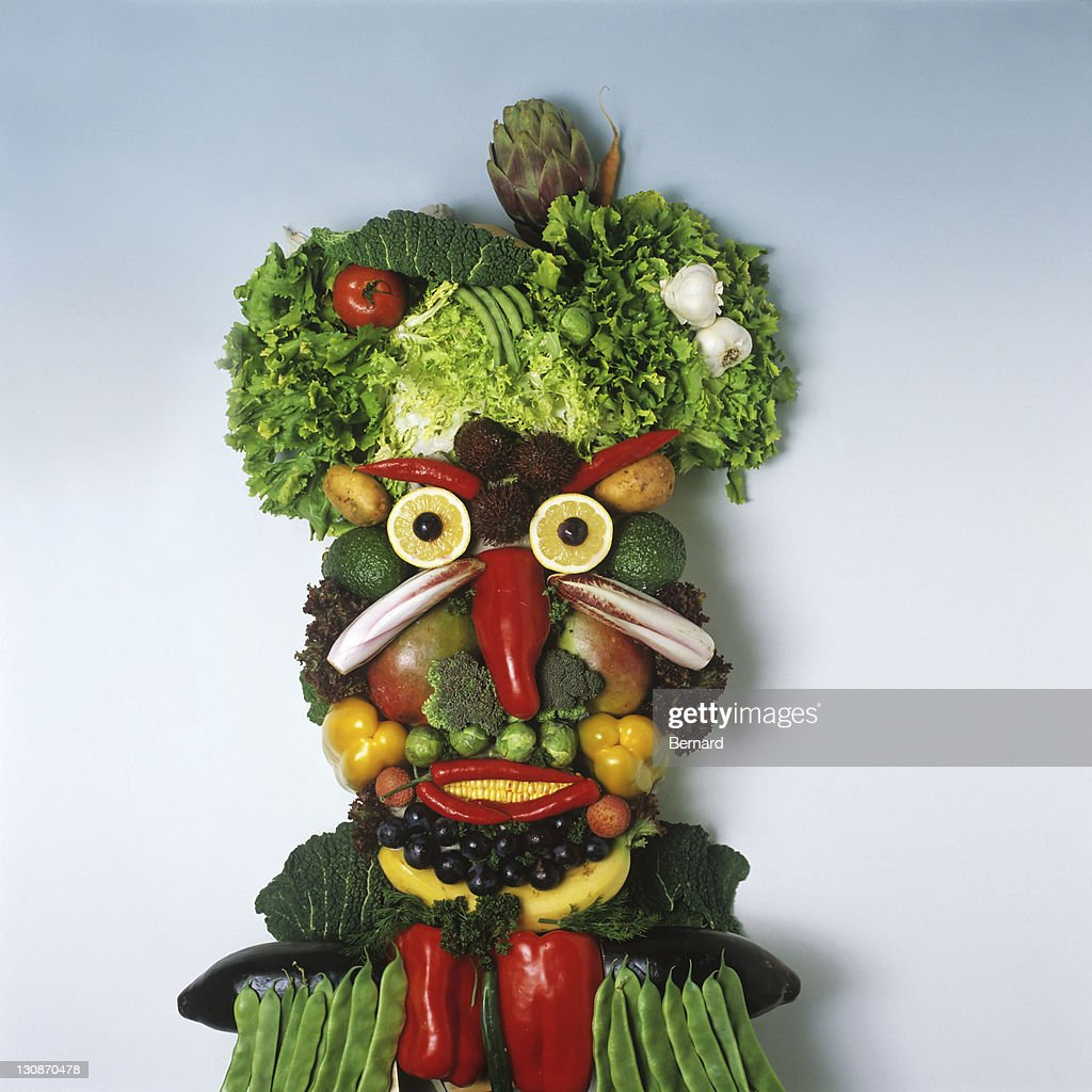 Human face made from fruit and vegetables : Stock Photo