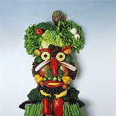 Human face made from fruit and vegetables