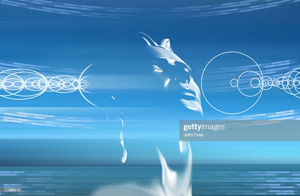Human face on abstract background (Digitally Generated) : Stock Photo