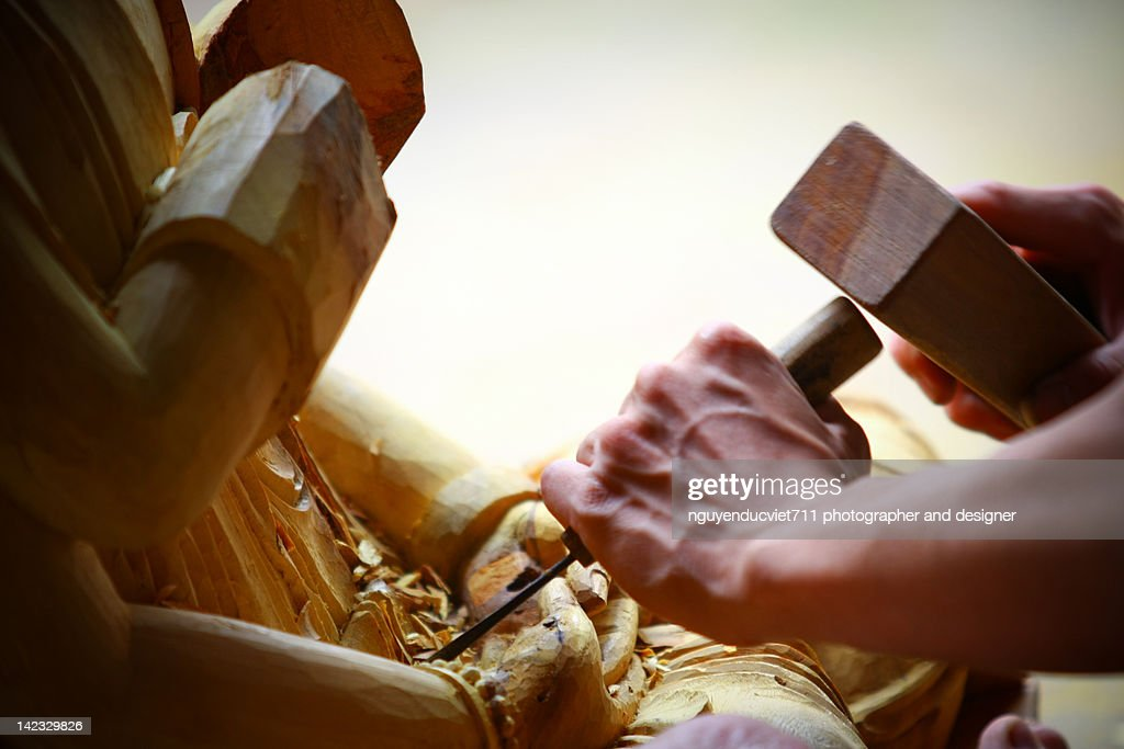 Human hand carving sculpture : Stock Photo