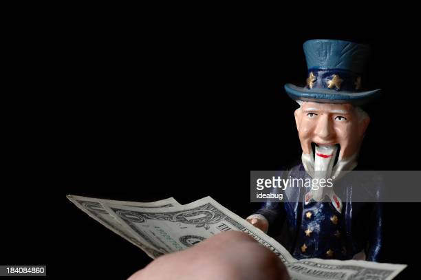 Human Hand Giving Money to Uncle Sam