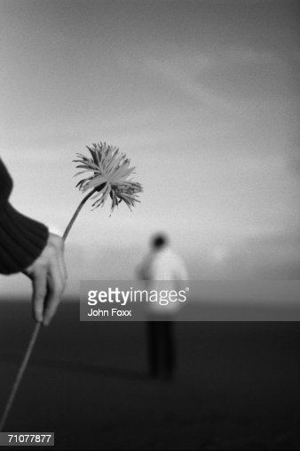 Human hand holding flower (B&W)