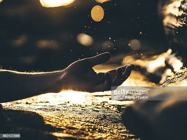 Human Hand In Gesture, Reflecting Surface