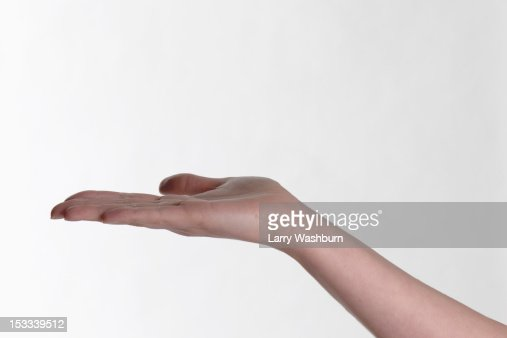 A human hand outstretched palm up
