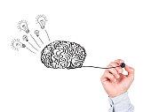 Human Hand Writing Brain on Whiteboard