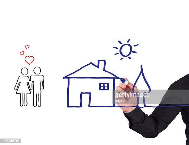 Menschliche Hand Schreiben House-Konzept auf einem Whiteboard ausgestattet