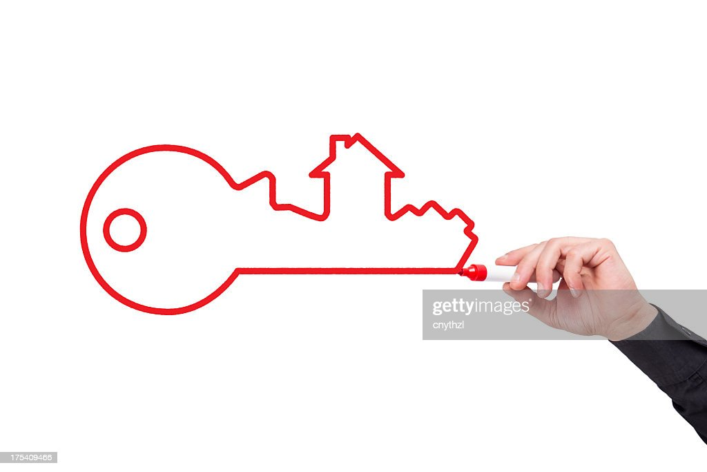 Human Hand Writing House Key Concept&Mortgage on Whiteboard