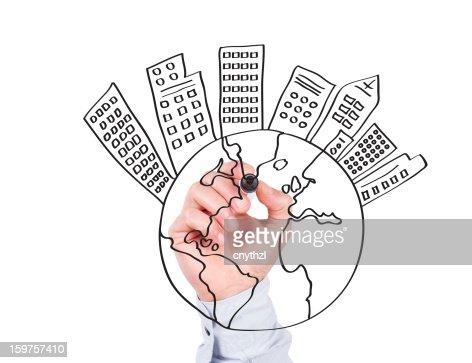 Human Hand Writing World Concept on Whiteboard