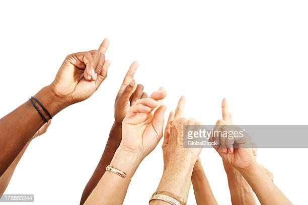 人間の指を指す手を上に揚げる動作、白色