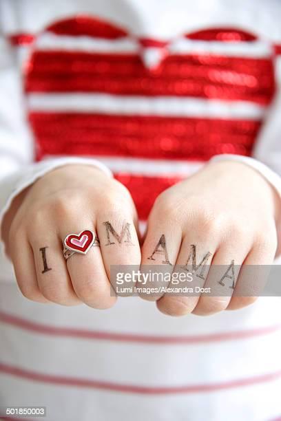 Human Hands Showing I Love You Mum, Munich, Bavaria, Germany, Europe