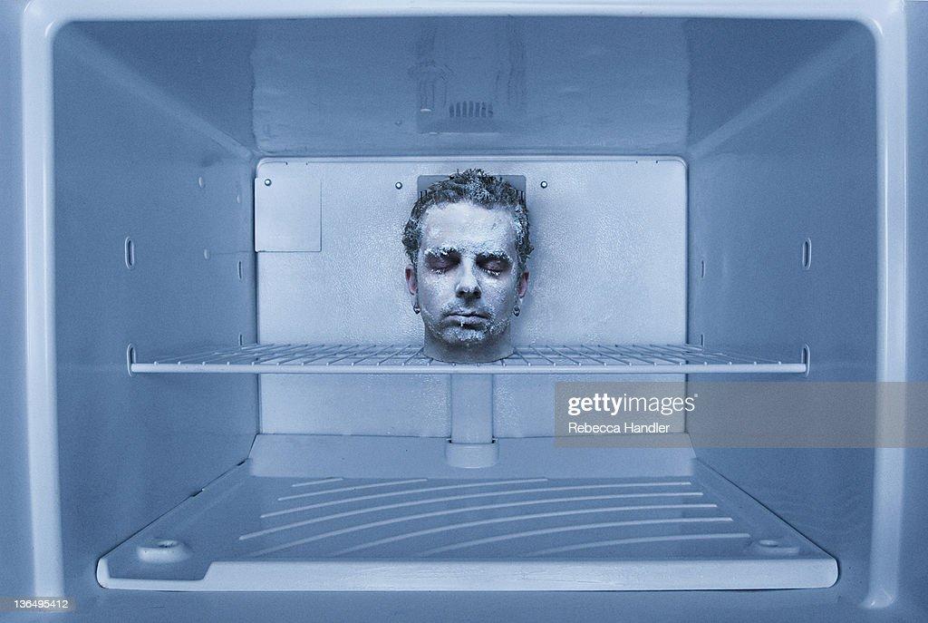 Human Head in freezer : Stock Photo