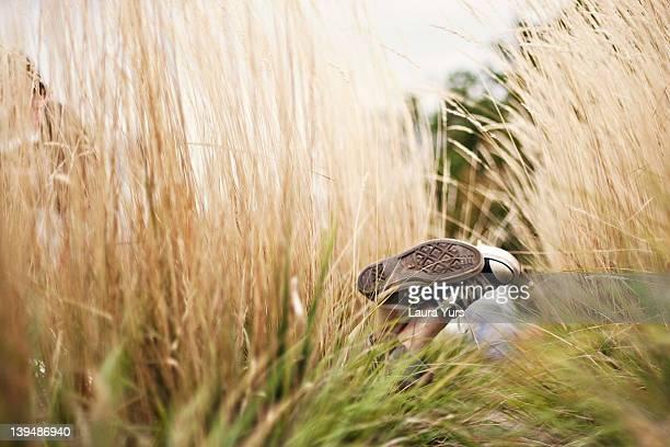 Human legs in grasses