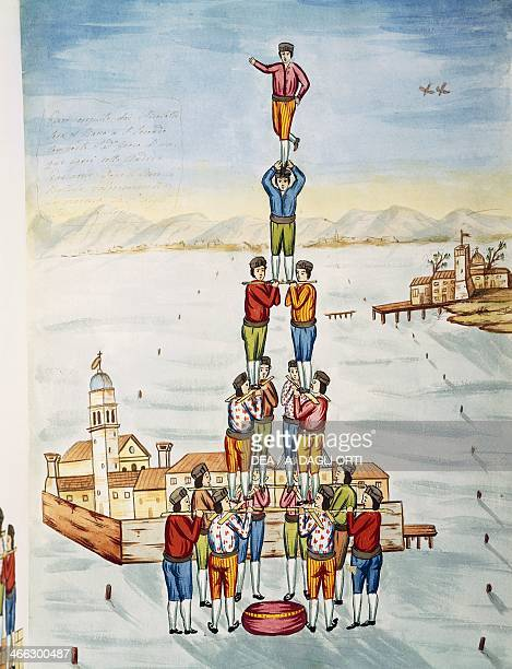 Human pyramid by an unknown Italian artist watercolour Italy 18th century