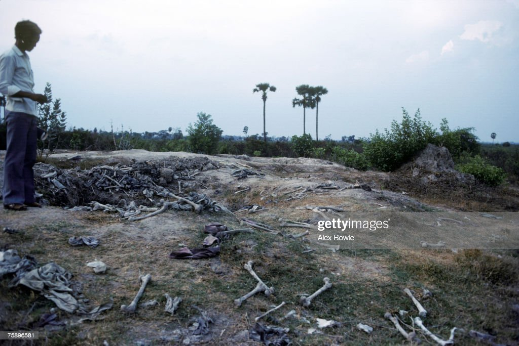 Human remains excavated from the Killing Fields at Choeung Ek outside Phnom Penh, where thousands of Cambodians were executed by the Khmer Rouge and buried in mass graves, 8th May 1983.