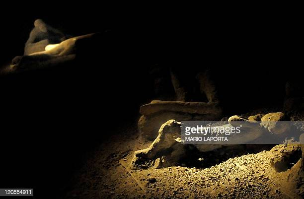 Human remains of the victims of the 79 BC's Vesuvio Volcan eruption are lightened at the Pompeii Archaeological Site on August 6 2011 as part of the...