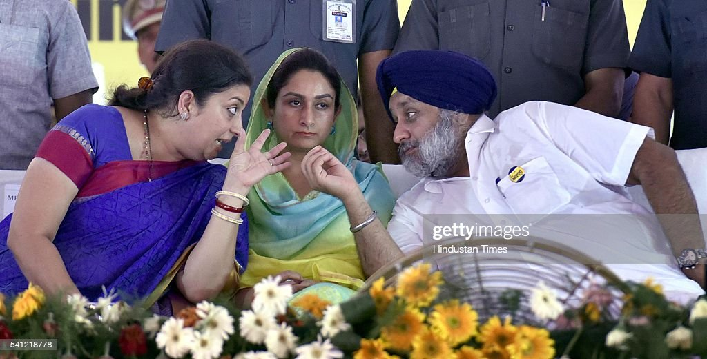 Human Resource Development Minister Smriti Irani Union Cabinet Minister of Food Processing Harsimrat Kaur Badal and Deputy Chief Minister Sukhbir...