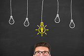 Human Resource New Idea on Blackboard Background