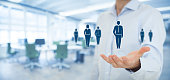 Human resources pool, customer care, care for employees, labor union, employment agency and marketing segmentation concepts. Gesture of businessman or personnel and icons representing group of people.